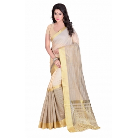 Poplin Linecot-queen  Beige Color Cotton Silk Saree