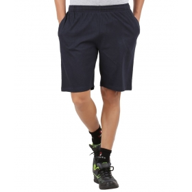 Navy Blue Cotton Solids Shorts