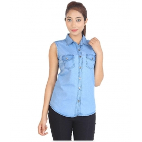 Sleeveless Denim Shirt For Women