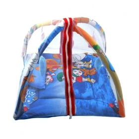 Blue Cartoon Printed Baby Play Gym With Mosquito Net