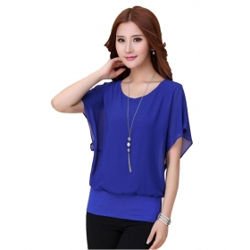 Blue Round Neck Poly Georgette Party Wear Flutter Sleeves Top