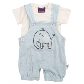 Chocolate Baby Sky Blue Dungaree For Baby Boy