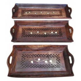 Wooden Bar Tray 3 Pcs