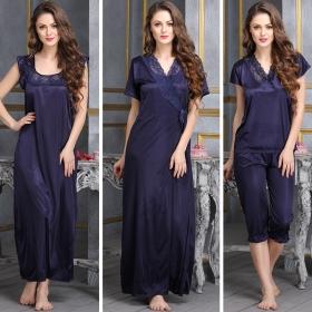 4 Pcs Satin Nightwear In Navy - Robe, Nightie, Top, Capri