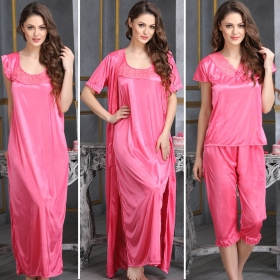4 Pcs Satin Nightwear In Pink - Robe, Nightie, Top, Capri