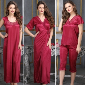 a4fe3504d9778 4 Pcs Satin Nightwear In Wine - Robe