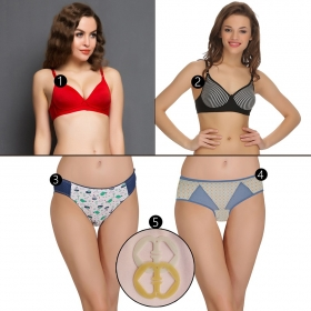 6 Pc Set- 2 Bra, 2 Panties & 2 Racerback Converter Ring