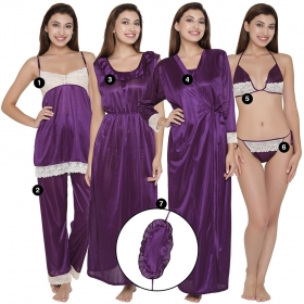 7 Pc Satin Nightwear Set