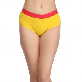 Cotton High-waist Hipster With Contrast Band - Yellow