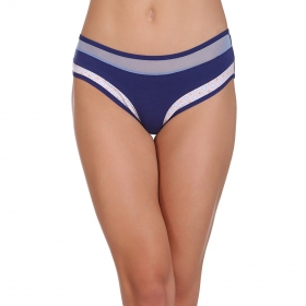 Cotton Low Waist Bikini With Contrast Fabric