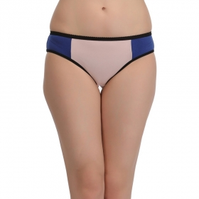 Cotton Mid Waist Bikini With Contrast Waist Band - Blue
