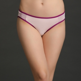 Cotton Mid-waist Bikini With Powernet Side Wings - Pink