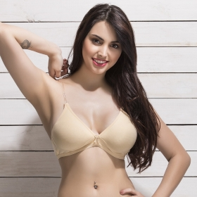 Cotton Non Padded Wirefree Demi Cup Bra With Detachable Transparent Straps - Beige