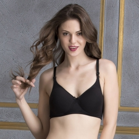 Cotton Padded Non-wired Full Cup T-shirt Bra With Detachable Straps - Black