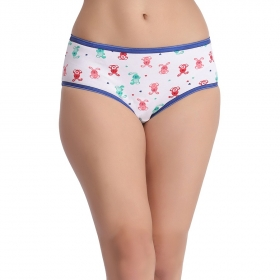 Cotton Teddy Print Mid Waist Hipster Panty