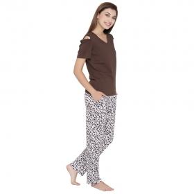 Cotton Top & Animal Print Pyjama Set