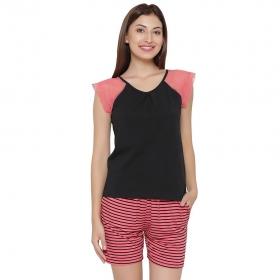 Cotton Top & Striped Shorts Set