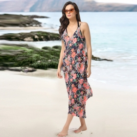 Crepe Floral Print Sarong With Overlapping Style