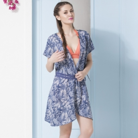 Crepe Printed Front Open Beach Cover-up