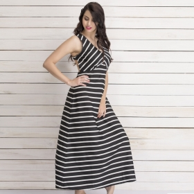 Crepe Striped Maxi Beachdress