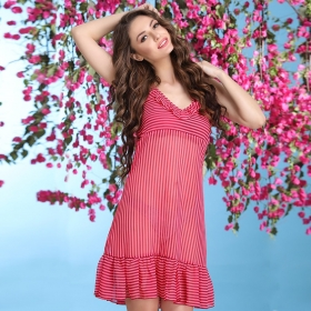Knee-length Striped Babydoll With Frill Styling - Pink