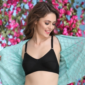Cotton Rich Non-padded Full Support Bra In Black