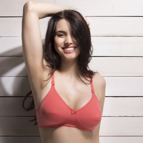 Cotton Rich Non Padded Non Wired Bra In Reddish Pink
