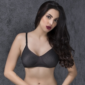 Non Padded Wirefree Denim Look T-shirt Bra - Black