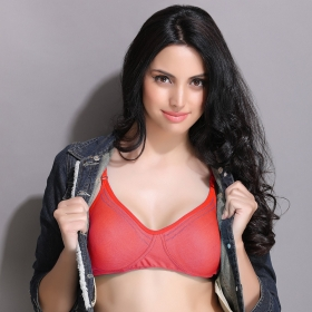 Non-padded Wirefree Denim Look T-shirt Bra - Red
