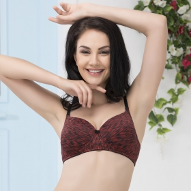 Non-wired Printed Push-up T-shirt Bra With Multiway Straps
