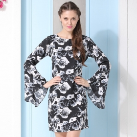 Crepe Floral Print Beachdress With Bell Sleeves