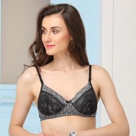 Padded Non-wired Printed Bra With Multiway Straps