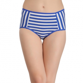 Cotton High Waist Striped Hipster
