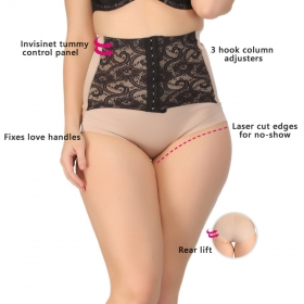 Tummy Tucker In Skin With Contrast Lacy Waist Cincher Girdle