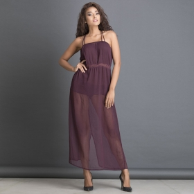 Sheer Beachdress With Crisscross Back And Lace Waist