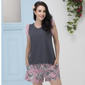 Sleeveless Lace Frill Top & Printed Shorts