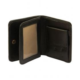 Cluemen Leather Black Casual Short Wallet