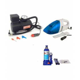 Combo Pack Of Car Vacuum Cleaner And Bottle Jack And Electric Pump
