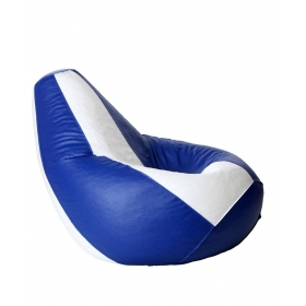 Xl Bean Bag With Beans In White & Blue