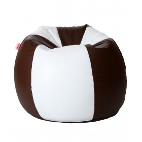 Xxl Bean Bag With Beans In White & Brown