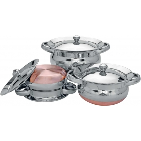 3 Pc Punjabi Handi Set - Copper Bottom