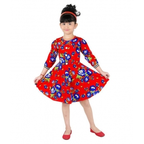 Red Cotton Printed Frock For Girls