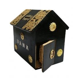 Black Wooden Money Bank For Kids