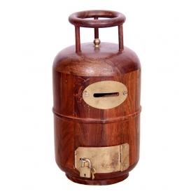 Wooden Money Bank Cylinder Shape