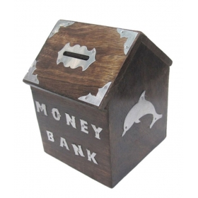 Wooden Money Bank Hut Shape Antique Black