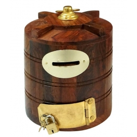 Brown Wooden Money Bank For Kids