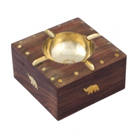 Table Top Wooden Ash Tray For Cigarette/cigar Etc {size(inch):2.4x4.5x4.5 /craft-0265}