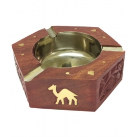 Table Top Wooden Ash Tray For Cigarette/cigar Etc {size(inch):1.4x4.1x4.5 /craft-0257}