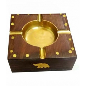 Table Top Wooden Ash Tray For Cigarette/cigar Etc {size(inch):1.6x3.9x4 /craft-0267}