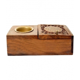 Trade Wood Ashtray And Cigarette Case